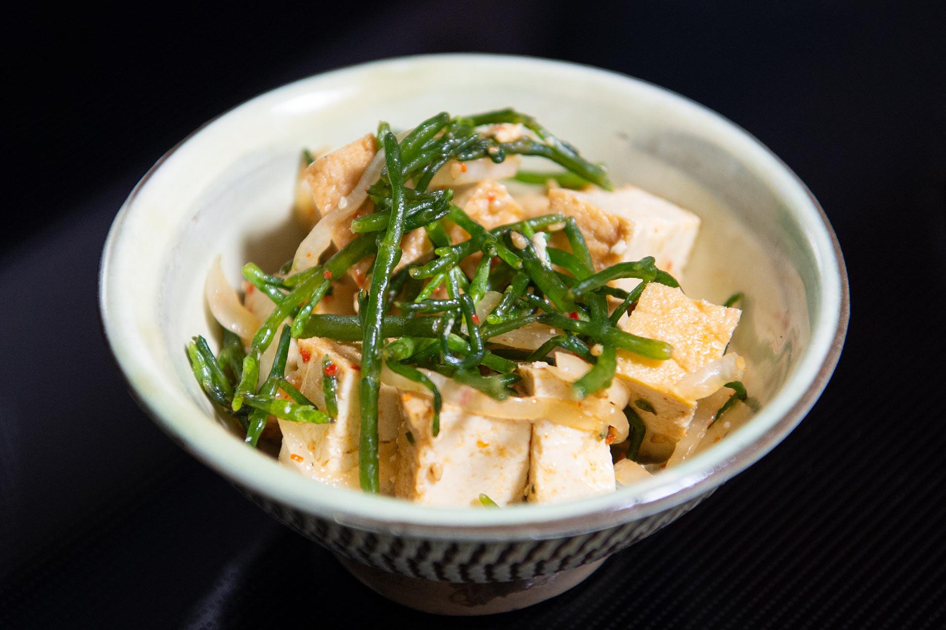 タムラの豆腐とシーアスパラガスのポケ