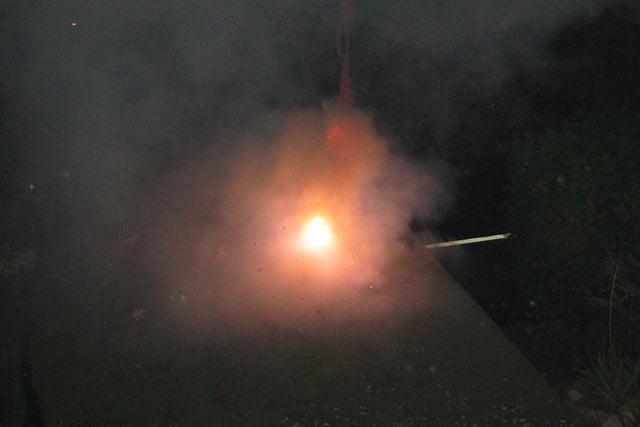 マンゴーの木にぶら下げた爆竹に着火